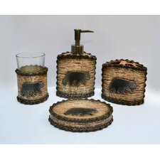 4 Piece Rustic Bear Bath Set (Set of 2)