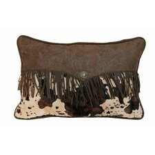 Cowhide Faux Leather Lumbar Pillow