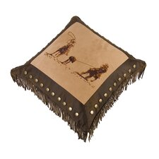 Team Roping Faux Leather Throw Pillow