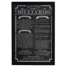 'Billiard Game Rules' Framed Textual Art