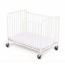 Stowaway Folding Compact Convertible Crib with Mattress