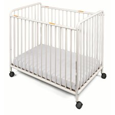 Chelsea Slatted Compact Steel Non-Folding Convertible Crib with Mattress