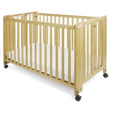 HideAway Series Nursery Folding Fixed Side Convertible Crib with Mattress