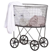 Casual Country Metal Vintage Laundry Basket with Wheels