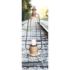 Camp Christmas Glass, Metal and Wood Lantern