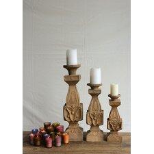 Morocco Mango Wood Pillar Candle Holder
