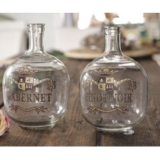 Sonoma 2 Piece Glass Bottle Set with Hand Painted Wine Label