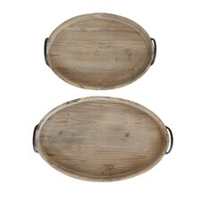 Honey 2 Piece Decorative Wood Tray with Metal Handle Set