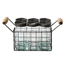 Garden 7 Piece Metal Wire Basket with Jar and Frog Lid Set