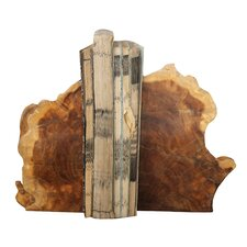 Pure Madre De Cacao Wood Book Ends (Set of 2)