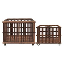 Country 2 Piece Wood Slatted Basket on Casters with Metal Wire Tray Set