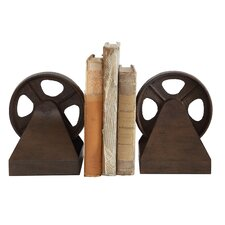 Turn of the Century Cast Metal Pulley Wheel Book Ends (Set of 2)