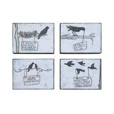 Black Bird Wall Décor (Set of 4)