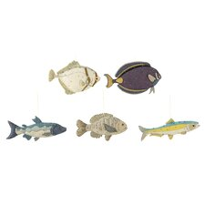 Waterside 5 Piece Hand Sewn Fabric Fish Ornament Set (Set of 5)