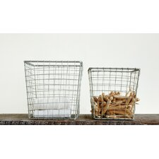2 Piece Square Metal Open Weave Basket Set
