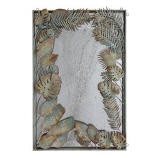 Palm and Fauna Metal Framed Antiqued Mirror with Painted and Distressed Metal Leaves