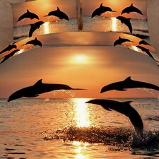 Pacific Sunset Dolphins 6 Piece Duvet Cover Set