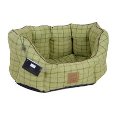 Tweed Oval Pet Bed in Green