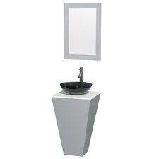 """Esprit 20"""" Single Pedestal Bathroom Vanity Set with Mirror"""