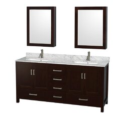 "Sheffield 72"" Double Bathroom Vanity Set with Mirror"
