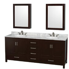"Sheffield 80"" Double Bathroom Vanity Set with Mirrors"