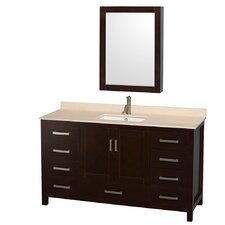 "Sheffield 60"" Single Bathroom Vanity Set with Medicine Cabinet Mirror"