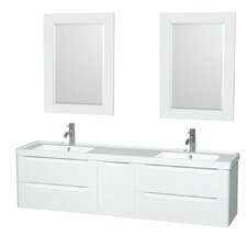 "Murano 72"" Double Bathroom Vanity with Mirror"