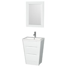"Caprice 24"" Pedestal Bathroom Vanity with Mirror"