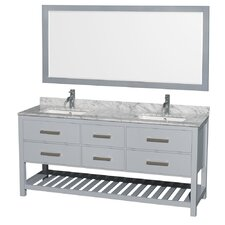 "Natalie 72"" Double Bathroom Vanity Set with Mirror"