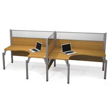 Pro-Biz Double Side-by-Side L-Desk Workstation With 2 Melamine Privacy Panels