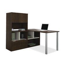 Contempo L-Shaped Writing Desk with Storage Hutch