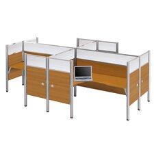 Pro-Biz Four L-Desk Workstation with 8 Privacy Panels