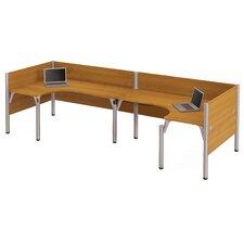 Pro-Biz Double Back-to-Back L-Desk Workstation with 3 Privacy Panels