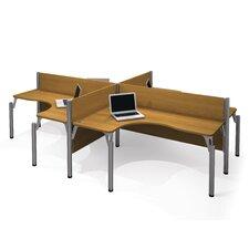 Pro-Biz Four L-Desk Workstation with 4 Privacy Panels