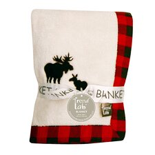 Northwood's Framed Fleece Receiving Blanket with Moose Applique