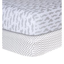 Mustache and Chevron Print Flannel Fitted Crib Sheets