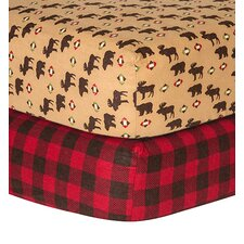 Northwood and Check Print Flannel Fitted Crib Sheets (Set of 2)
