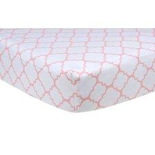 Pink Sky Quatrefoil Crib Sheet