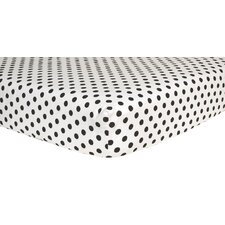 Dot Print Flannel Fitted Crib Sheet