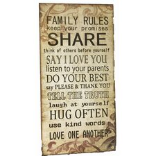 Family Rules Share Sign Wall Décor