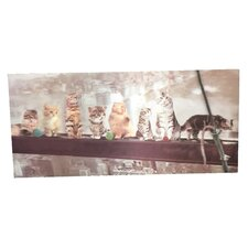 '3D Paint with Many Cats on The Beam' Graphic Art on Canvas
