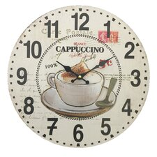 """13.38"""" Wall Clock in Cappuccino and Coffee Cup Design"""