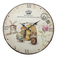"""13.38"""" Wall Clock in Motorcycle Facing Left"""