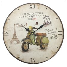 """13.38"""" Wall Clock in Motorcycle Facing Right"""
