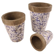 Aged Ceramics 3 Piece Round Pot Planter Set