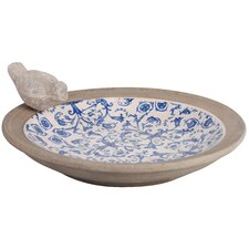 Aged Ceramic Bird Bath in Blue & White