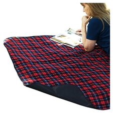 Picnic Blanket with Attached Case in Red Plaid