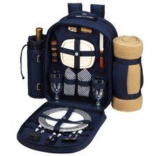 Bold Picnic Backpack with Blanket and Two Place Settings