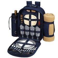 Bold Picnic Backpack with Blanket and Four Place Settings