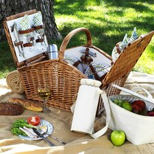 Huntsman Basket for  Four with Coffee Set and Blanket in Gazebo